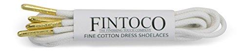 Fintoco Ronde Waxed Designer Dress Schoenveters Met Metalen Punten Wit Met Gouden Punten