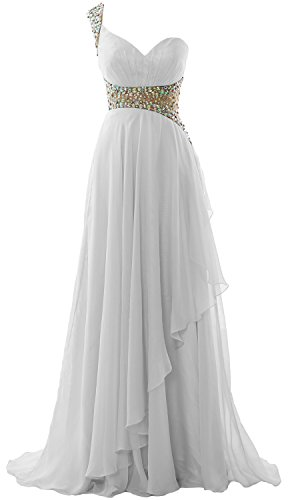 2018 Shoulder Prom Evening One Gown Weiß Chiffon MACloth Long Formal Dress Elegant qX0AaxR