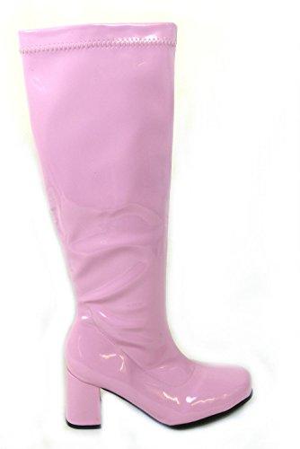 FUN FASHION UK LIMITED Ladies Women's Girls Fancy Dress 1960'S 70'S Knee HIGH Quality Go Go Retro Boots Pink dhrfvf