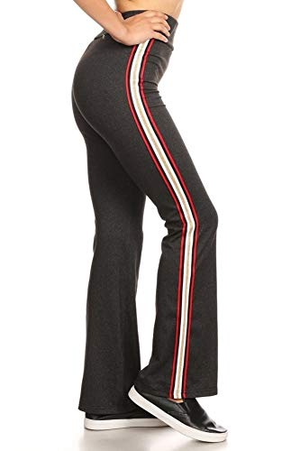 ShoSho Womens Yoga Flare Pants Side Striped Wide Leg Sports Track Sweatpants Charcoal/Red/Gold Small