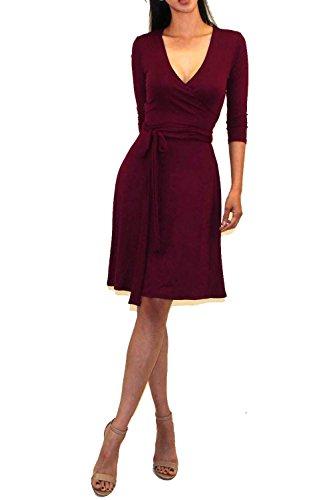 Vivicastle Women's Printed V-Neck 3/4 Sleeve Faux Wrap Waist Tie Midi Dress (DD58, Wine, Medium)