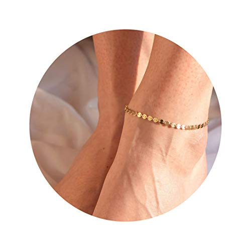 - Gold Coin Chain Anklet,14K Gold Plated Dainty Handmade Boho Beach Disc Ankle Bracelets for Women