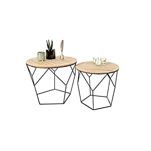 LIFA LIVING Table Gigogne Bois et Metal Ronde, Table Basse Design Bois en Lot de 2, Petite Table Basse Gigogne…