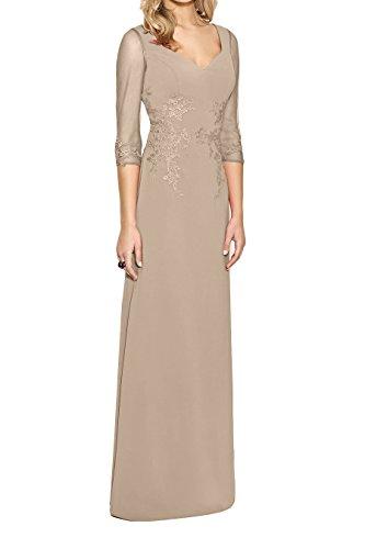 Braut Langarm Elegant Partykleider Brautmutterkleider Promkleider Bodenlang Abendkleider Champagner Dunkel Marie La Rosa BqxA51Iwn