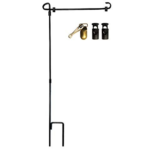 VIEKEY Garden Flag Stand,Premium Garden Flag Pole-Holder with Garden Flag Stopper and Anti-Wind Clip 35.4 x 16.7 inch Premium Metal Wrought Iron Powder Coated Weather-Proof Paint Steel Without Flag