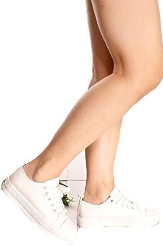 SIGNATURE FAUX LEATHER ROUND TOE LACE SNEAKER 75 white