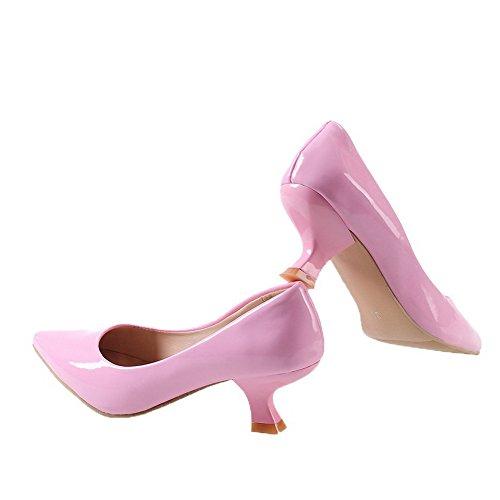Correct PU L Couleur geres Chaussures Talon Rose Tire VogueZone009 Cuir Pointu Femme Unie xtYvwY5Rnq