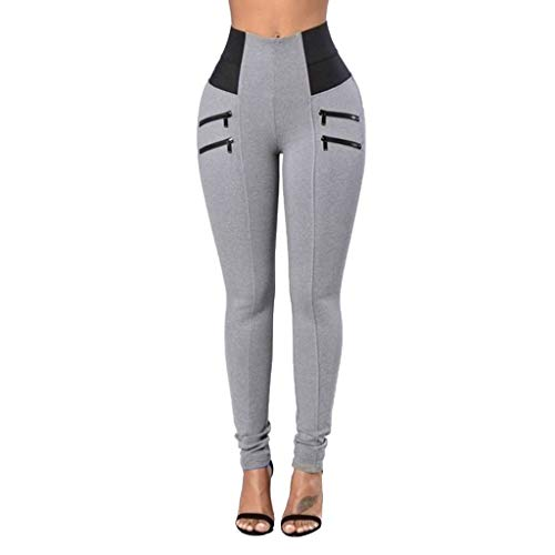 VLDO Womens Leggings Elastic Trousers Thin Zipper Solid Mid-Calf Plus Size Pants(Gray,L) -