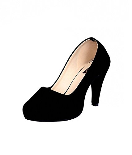 24350b922 Sam Stefy Velvet Black Closed Toe Heels for Women: Buy Online at Low Prices  in India - Amazon.in