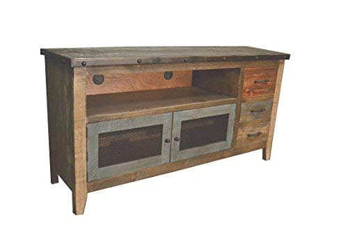 Crafters and Weavers Rustic Solid Wood 62 Inch TV Stand Media Console