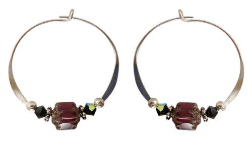 Bali Sky Medium Sterling Silver Purple Barrel Bead Hoop Earrings SHM010