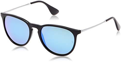 RAY-BAN RB4171 Erika Round Sunglasses, Black/Blue Mirror, Blue Mirror (Sunglasses Ban Blue Ray Mirror)