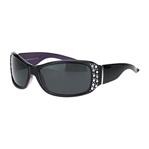 Anti Glare Polarized Womens Rhinestone Oval Rectangular Designer Sunglasses (Black Purple, 2.25)