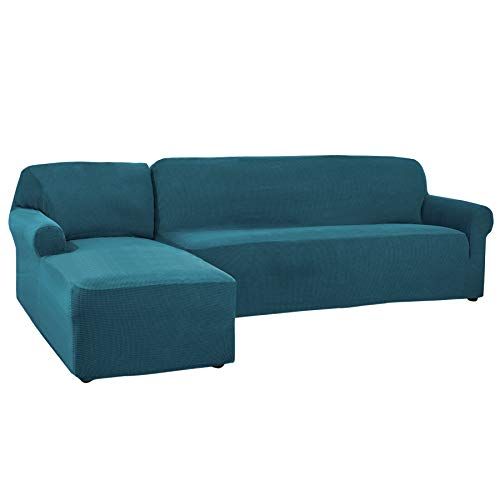 CHUN YI 2 Pieces L-Shaped 3 Seats Jacquard Polyester Stretch Fabric Sectional Sofa Slipcovers for Living Room (Left Chaise(3 Seats), Teal) (Sectional Teal Couch)