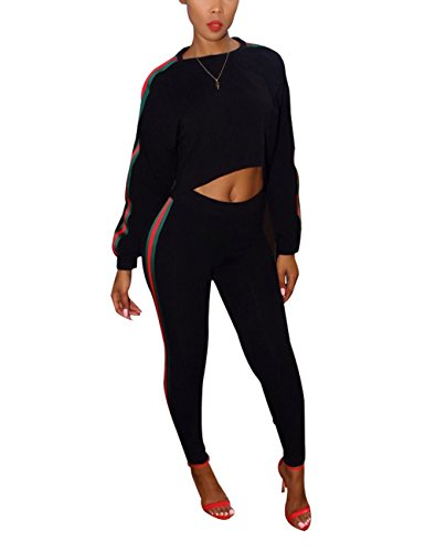 Akmipoem Women's 2 Pieces outfits Long Sleeve Hoodie and Pants Sweatsuits Tracksuits Black M Sweatsuit Outfit