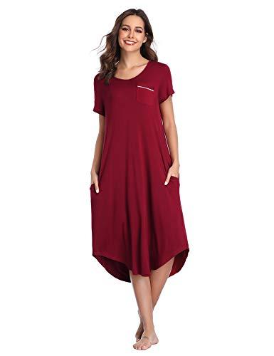 Lusofie Women's Sleepshirt Short Sleeve Night Dress Casual Loungewear with Pockets (Wine Red, L)