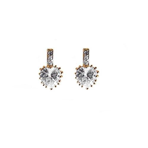 Boucles d'oreilles coeur zirconiums plaqué or