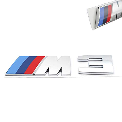 3D Car M3 M5 ABS Rear Trunk Emblem Badge Sticker Decals for BMW 3 5 Series (Silver M3) ()