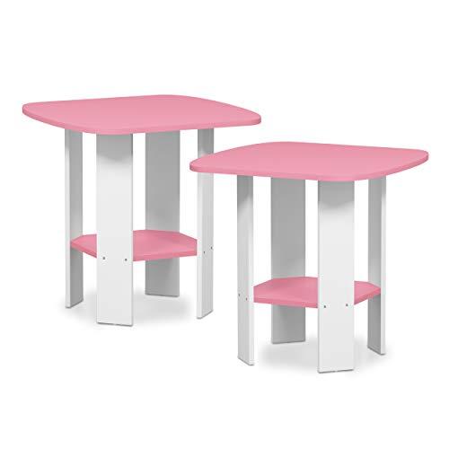 Furinno 2-11180PI Simple Design 2-Pack End Side Table, -