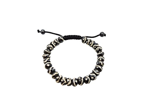 (Tibetan Mala Yak Bone Buddha of Compassion Wrist Mala Bracelet for Meditation)