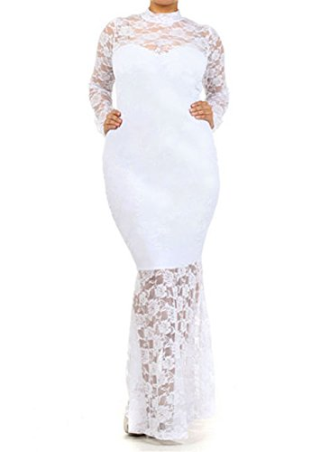 832 - Plus Size Mermaid Lace Maxi Long Cocktail Dress Gown (3X, White)