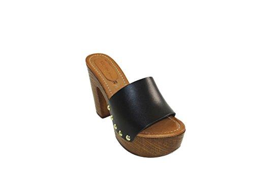 SilferShoes - Made in Italy, Zoccolo in finto legno,Soletto in pelle, Tomaia pelle, colore Nero