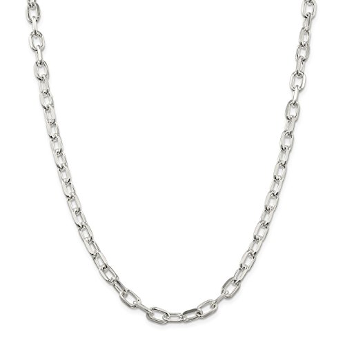 Lex & Lu Sterling Silver 6mm D/C Open Link Cable Chain Necklace or Bracelet ()