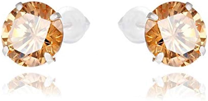 Pendientes para mujer OrdoŠ Diamonds® de plata 925, piedra de afilar, pendientes de plata 925, circonita redonda, color ámbar, con puntos, 1,2 g