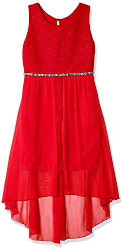 Amy Byer Girls' Big 7-16 Sleeveless High-Low Party Dress with Lace Bodice, Winter red 7