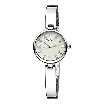 Bella Relojes Yaqin Brillantes Banda De Plata Número Romano Cuarzo