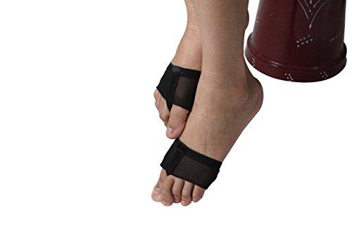 TOFFERN Unisex 2 Paar Lyrical Yoga Ballett Latin Bauchtanz Halbsohle Schutz Bare Foot Thong Toe Pad Dance Pfote Schuhe Fitness Schwarz
