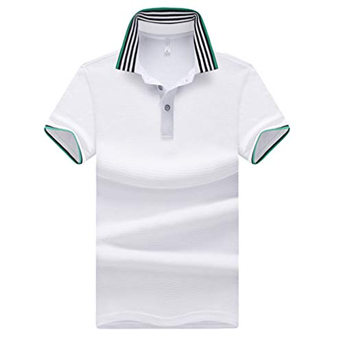 - POQOQ T Shirts Polo Tops Blouse Men's Silk Touch Performance Polo Mens Striped Short Sleeve Polo Shirts Sportswear Polyester Short Sleeve Polo XL White