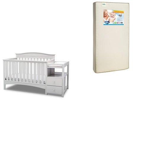 Delta Children Birkley Convertible Crib N Changer, Bianca White with Twinkle Stars Supreme Crib and Toddler Mattress