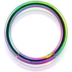 Curved Barbells 8MM - 14G(1.6MM) Rainbow Anodised Grade 23 Solid Titanium Segment Rings.