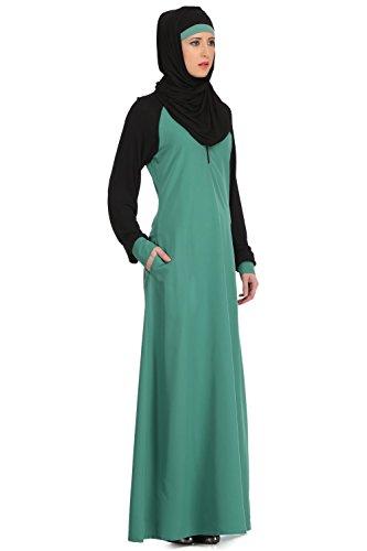 MyBatua Light Green Kashibo & Manches Jersey Noir Sports Abaya Maxi Robe AY-512
