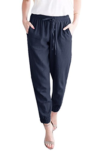 (Mafulus Womens Casual Pants Linen Drawstring Elastic Waist Loose Work Harem Pants with Pockets Navy)