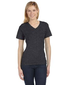 T-shirt Large Cd (Bella 6405 Ladies Relaxed Jersey Short-Sleeve V-Neck Tee - Dark Grey Heather, Extra Large)
