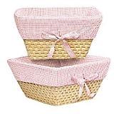 Natural Woven Nursery Baskets - Pink Gingham (Set of 2)