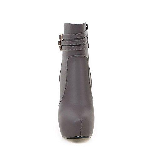 AgooLar Women's Zipper Round Closed Toe High-Heels PU Low-top Boots Gray J6RfTw0N