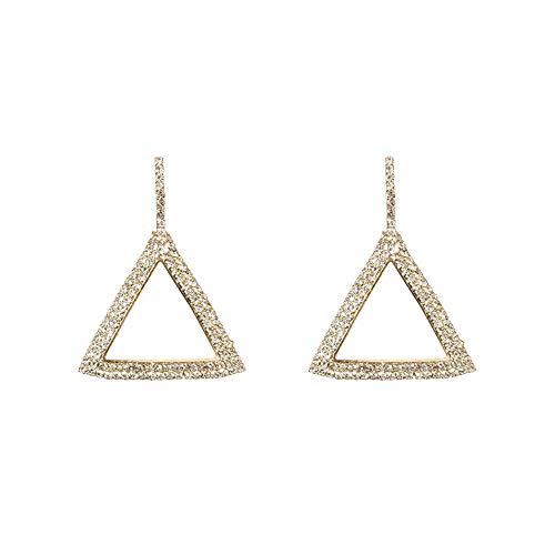 iMakcc New 1 Pair Fashion Lady Women Thin Large Geometric Shining Diamond Earrings (Gold)