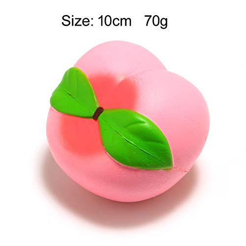 Cute Banana Lemon Water Melon Peach Strawberry Squishy Slow Rising Jumbo Simulation Fruit Phone Straps Soft Kid Fun Toy Gift,Peach 10cm ()