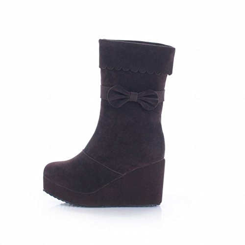 856bc3567cfe Latasa Women s Sweet Mid-calf High-heel Platform Wedges Boots