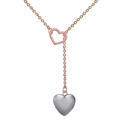 Heart Shaped Semi-precious Stones Pink crystal Hematite Y Necklace for Women, 18 + 2 inches (Black rose gold) (Stone Heart Precious)