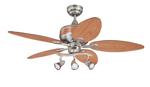 Westinghouse Lighting 7226565 Downrod Mount, 5 Mahogany, Maple Blades Ceiling fan with 65 watts light, Brushed Nickel