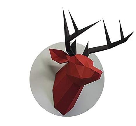 Amazon com: Deer Head - DIY Papercraft Kit 3D Model Building