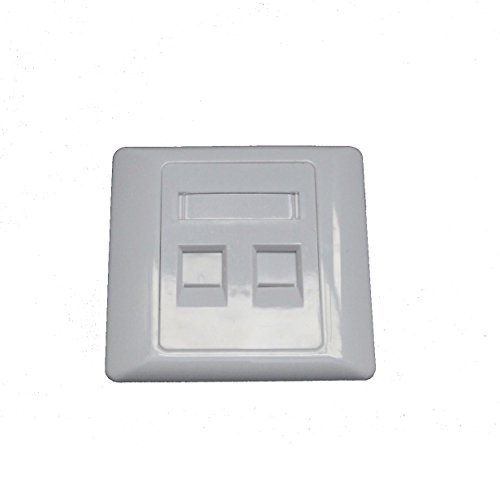 30 Pieces 2 Port FacePlate 86 Type 86x86mm Wall plate for RJ 11 keystone jack RJ45 keystone ()