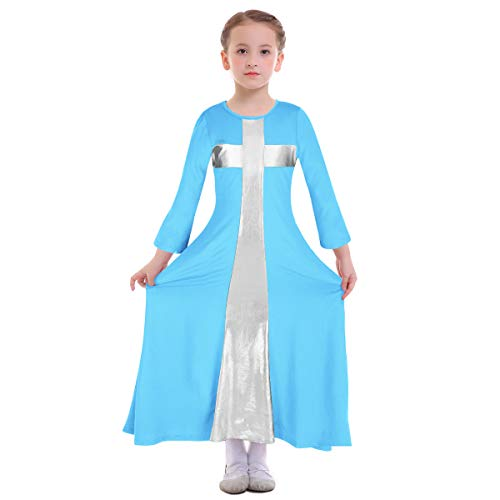 Girl Bell Long Sleeve Liturgical Praise Dance Dress Loose Fit Full Length Swing Gown Ruffle Tunic Circle Skirt Costume Worship Dress Hanukkah Outfit Metallic Color Block Blue + Silver Cross 3-4 Years