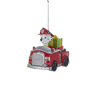 Kurt Adler Paw Patrol Character Marshal on Red Fire Truck Christmas Ornaments ()