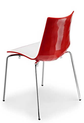 Zebra Modern Stackable Red and White Dining Chair with Chrome Legs - Parada One Design 2272 212