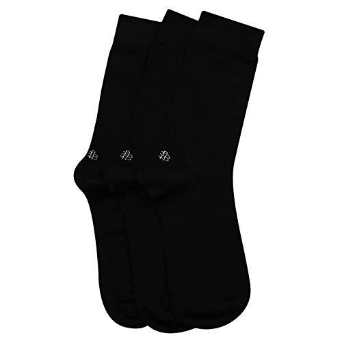 Men's Cotton Odour Free Black Plain Socks- Pack of 3
